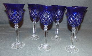"6 Cobalt Blue Bohemian Cut Crystal Wine Glasses Set of 6 Cobalt Blue Bohemian Cut Crystal Wine Glasses. Heavy and high quality European Leaded Crystal. Each measures 8-3/4"" tall x 3-3/4"" wide at rim. Condition is New, Mint. No Damage. Includes Fitted and lined Gift Box. Several Shipping Options Available. Starting Bid $100 for all 6. Auction Estimate $150 - $250."