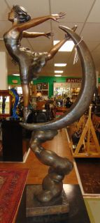 "Bronze Ballerina on the Moon Sculpture Large Bronze Ballerina Dancing on the Moon Sculpture. Artist Signed. She measures 50"" tall. Large, heavy piece. Cast and crafted one piece at a time in the traditional lost wax method. Condition is New, Mint. No Damage. This Sculpture is made entirely from Bronze. Several Shipping Options Available. Starting Bid $250. Auction Estimate $850 - $1,000."