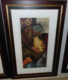 "Marco Antonio Galaviz Print 'Hombre Trabajador' Large, Framed & Matted Print under Glass by Marco Antonio Galaviz (1964 - 2004). Pencil Signed by Artist and Titled 'Hombre Trabajador'. Frame measures 57"" tall x 37-1/2"" wide. Condition is good. Minimal wear and no damage. There is some staining. Needs cleaning. Several Shipping Options Available. Starting Bid $80. Auction Estimate $100 - $150."