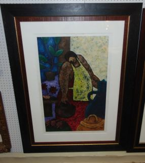 """Marco Antonio Galaviz Print 'Simple Existance' Large, Framed & Matted Print under Glass by Marco Antonio Galaviz (1964 - 2004). Pencil Signed by Artist and Titled 'Simple Existance'. Frame measures 58"""" tall x 44-1/4"""" wide. Condition is good. Minimal wear and no damage. There is some staining. Needs cleaning. Several Shipping Options Available. Starting Bid $80. Auction Estimate $100 - $150."""