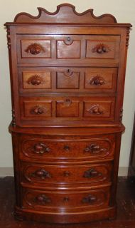 """Antique Walnut Chest on Chest Antique Walnut Chest on Chest. Measures 60"""" tall x 31"""" wide x 20"""" deep. Condition is very good. Wear consistent with age and use. One small piece of moulding missing (see photo close-ups). Several Shipping Options Available. Starting Bid $50. Auction Estimate $100 - $150."""