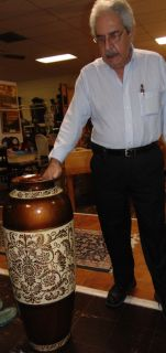 "Decorative Porcelain Floor Vase Decorative Porcelain Floor Vase. Measures 36"" tall x 14"" wide. Condition is good. No damage. Several Shipping Options Available. Starting Bid $50. Auction Estimate $70 - $90."