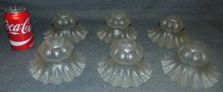 """Set of 6 Vintage Frosted Glass Globe Shades Set of 6 Vintage Frosted Glass Globe Shades. Each measures 3-1/2"""" tall x 6"""" wide. Opening is 1-1/4"""" wide. Condition is very good with minimal wear. One small chip on base of one shade (see close-up photo). Several Shipping Options Available. Starting Bid $30 for all. Auction Estimate $40 - $50."""