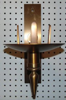 "Church Brass Wall Sanctuary Candle Sconce Brass Wall Sanctuary Candle Sconce. Glass globe not included. Measures 14"" tall x 8"" wide. Condition is very good with minimal wear. No damage. Starting Bid $20. Auction Estimate $20 - $50."