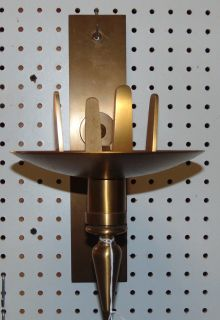 """Church Brass Wall Sanctuary Candle Sconce Church Brass Wall Sanctuary Candle Sconce. Glass globe not included. Measures 14"""" tall x 8"""" wide. Condition is very good with minimal wear. No damage. Several Shipping Options Available. Starting Bid $20. Auction Estimate $40 - $60."""