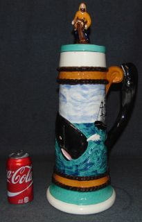 "Large Moby Dick Beer Mug with Lid Large, Vintage Moby Dick Beer Mug with Lid. Measures 20"" tall x 7-1/4"" wide. Overall condition is Excellent. No Damage. Several Shipping Options Available. Starting Bid $20. Auction Estimate $50 - $80."