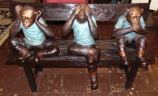 """Large Bronze """"Hear, See, Speak No Evil"""" Sculpture  Fabulous and Large Bronze """"Hear No Evil, See No Evil, Speak No Evil Monkeys"""" Sculpture on a Bench. Very Heavy. Sculpture measures 31"""" tall x 45"""" wide x 20"""" deep. Condition is New, Mint. No Damage. This Sculpture is made entirely from Bronze. High Quality Bronze with excellent Detail and various shades of patina. Bronze may be used indoor or outdoor. Several Shipping Options Available. Starting Bid $1,000. Auction Estimate $2,000 - $2,500."""