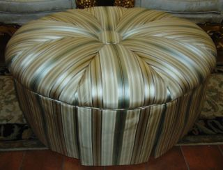 """Upholstered & Skirted Silk Ottoman Decorative Upholstered & Skirted Silk Ottoman. Measures 19"""" tall x 39"""" wide x 31"""" deep. Condition is good. No damage. Several Shipping Options Available. Starting Bid $30. Auction Estimate $100 - $200."""