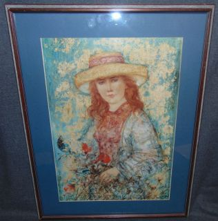 """Edna Hibel (1917-2014) Framed Print Edna Hibel (1917-2014) Framed Print. Edna Hibel, a painter of sentimental pictures of children, has had a more than 60-year career as painter and lithographer and promoter of peace through exhibitions of her artwork. Hibel's work has been exhibited in museums and galleries in more than 20 countries including Russia, Brazil, China, Costa Rica, and the United States, and under the royal patronage of Count and Countess Bernadotte of Germany, Count Thor Bonde of Sweden, Prince and the late Princess Rainier of Monaco and Her Majesty Queen Elizabeth II of England. Measures 28"""" tall x 24-1/2"""" wide. Starting Bid $20. Auction Estimate $30 - $40."""