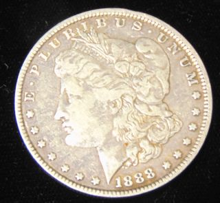 Morgan US Silver Dollar 1888-s Morgan US Silver Dollar. Low Mintage. Dated 1888-s. Circulated. In House, Flat Rate Shipping on this item is $11.50. Insurance included. Starting Bid $20. Auction Estimate $50 - $60.