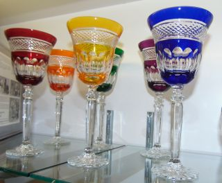 """6 Multi-Color Bohemian Cut Crystal Wine Glasses Beautiful Set of 6 Multi-Color Bohemian Cut to Clear Crystal Wine Glasses. Heavy and high quality European Leaded Crystal. Each measures 8-3/4"""" tall. Condition is New, Mint. No Damage. Includes Fitted and lined Gift Box. Starting Bid $150 for all 6. Auction Estimate $200 - $250."""