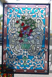 "Custom Tiffany Style Stained Glass Hanging Panel Custom Tiffany Style Stained Glass Hanging Panel. High Quality. Measures 34"" tall x 23"" wide. Condition is New, Mint. No Damage. Several Shipping Options Available. Starting Bid $80. Auction Estimate $120 - $150."