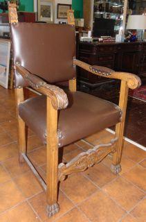 "Antique Italian Walnut Throne Chair Antique Italian, Carved Walnut & Leather Throne Chair. Measures 43"" tall x 24"" wide x 24"" deep. Condition is good. No damage. Starting Bid $40. Auction Estimate $40 - $150."
