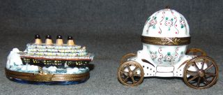 2 Limoge Collectible Boxes 2 Authentic Limoge Porcelain Collectible Pill Boxes. Hand Painted. Made in France. Bottom is marked. Condition is Like New. Very good. No Damage. Several Shipping Options Available. Starting Bid $60 for both. Auction Estimate $80 - $150.
