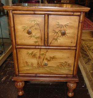 """Tommy Bahama Style Painted Nightstand Tommy Bahama Style Painted 3 Drawer Nightstand. Measures 28"""" tall x 20"""" wide x 14"""" deep. Overall condition is good. Wear consistent with use. Several Shipping Options Available. Starting Bid $20. Auction Estimate $30 - $50."""