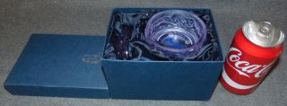 """Czech Bohemian Alexandrite Glass Jar  Czech Bohemian Alexandrite Glass Lidded Vanity Jar. Measures 2-1/2"""" tall x 3-3/4"""" wide. Includes original silk lined gift box. Condition is Like New. Very good. No Damage. Several Shipping Options Available. Starting Bid $20. Auction Estimate $20 - $60."""