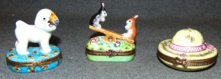 3 Limoge Collectible Boxes 3 Authentic Limoge Porcelain Collectible Pill Boxes. Hand Painted. Made in France. Bottom is marked. Condition is Like New. Very good. No Damage. Several Shipping Options Available. Starting Bid $60 for all 3. Auction Estimate $90 - $180.