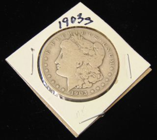 Morgan US Silver Dollar 1903-s Morgan US Silver Dollar. Low Mintage. Dated 1903-s. Circulated. In House, Flat Rate Shipping on this item is $11.50. Insurance included. Starting Bid $50. Auction Estimate $120 - $150.