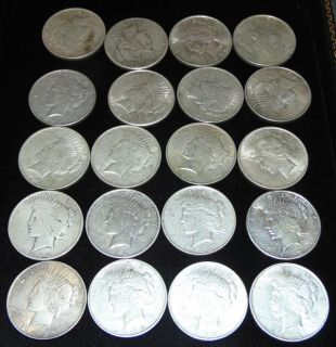 "20 United States Silver ""Peace"" Dollars 1922 20 United States Silver ""Peace"" Dollars. Each Dated 1922. Circulated. In House, Flat Rate Shipping on this item is $28.50. Insurance included. Starting Bid $50. Auction Estimate $450 - $500."
