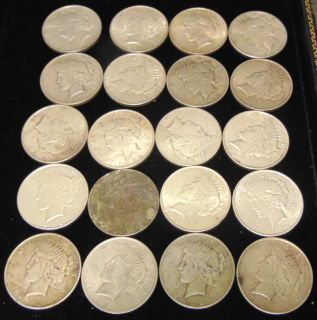 """20 United States Silver """"Peace"""" Dollars 1922 20 United States Silver """"Peace"""" Dollars. Each Dated 1922. Circulated. In House, Flat Rate Shipping on this item is $28.50. Insurance included. Starting Bid $50. Auction Estimate $450 - $500."""