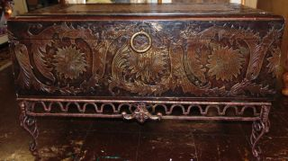 """Trunk Coffee Table on a Stand Trunk Coffee Table on a Stand. Measures 21"""" tall x 36"""" wide x 19-1/2"""" deep. Overall condition is good to fair. Wear consistent with age and use. Some paint loss. Several Shipping Options Available. Starting Bid $30. Auction Estimate $50 - $80."""