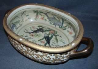 """Chinese Porcelain Style Cachepot Chinese Porcelain Style Cachepot. Measures 6-3/4"""" tall x 20"""" wide x 11-1/2"""" deep. Condition is very good. Excellent. No damage. Several Shipping Options Available. Starting Bid $60. Auction Estimate $100 - $150."""