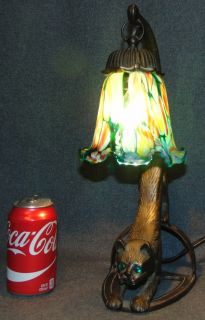 "Cat Lamp with Art Glass Shade Lovely Cat Lamp with Glass Eyes and Art Glass Shade. Measures 15"" tall. Condition is very good. No damage. Several Shipping Options Available. Starting Bid $50. Auction Estimate $125 - $200."