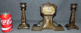 "Art Nouveau 3 piece Clock Set Art Nouveau 3 piece Clock Set. Clock measures 8"" tall x 9-1/4"" wide. 2 Garnitures each measure 7-1/2"" tall. Condition is very good. No damage. Several Shipping Options Available. Starting Bid $80. Auction Estimate $150 - $250."