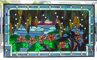 """Custom Tiffany Style Stained Glass Hanging Panel Custom Tiffany Style Stained Glass Hanging Panel. High Quality. Measures 23"""" tall x 38-3/4"""" wide. Condition is New, Mint. No Damage. Several Shipping Options Available. Starting Bid $80. Auction Estimate $120 - $150."""