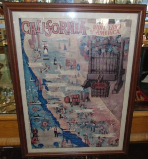 """Vintage California Wine Poster Vintage California Wine Poster. Framed under glass. Frame measures 44"""" tall x 33"""" wide. Condition is very good. Excellent. No damage. Several Shipping Options Available. Starting Bid $50. Auction Estimate $150 - $200."""