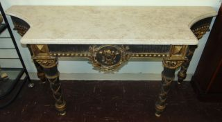 """Marble Top Console Table Large Marble Top Console Table. From the World Famous """"Breakers"""" Hotel in Palm Beach, Fl. Thick, heavy marble top. Measures 37"""" tall x 74"""" wide x 26"""" deep. Condition is good. Minimal wear. No damage. Several Shipping Options Available. Starting Bid $500. Auction Estimate $800 - $1,000."""