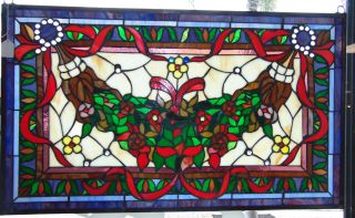 """Custom Tiffany Style Stained Glass Hanging Panel Custom Tiffany Style Stained Glass Hanging Panel. High Quality. Measures 20-1/2"""" tall x 34-1/2"""" wide. Condition is New, Mint. No Damage. Several Shipping Options Available. Starting Bid $80. Auction Estimate $120 - $150."""