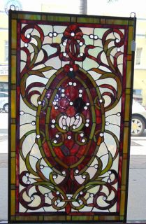 "Custom Tiffany Style Stained Glass Hanging Panel Custom Tiffany Style Stained Glass Hanging Panel. High Quality. Measures 35"" tall x 20-1/2"" wide. Condition is New, Mint. No Damage. Several Shipping Options Available. Starting Bid $80. Auction Estimate $120 - $150."