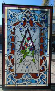"""Custom Tiffany Style Stained Glass Hanging Panel Custom Tiffany Style Stained Glass Hanging Panel. High Quality. Measures 34-3/4"""" tall x 20-1/2"""" wide. Condition is New, Mint. No Damage. Several Shipping Options Available. Starting Bid $80. Auction Estimate $120 - $150."""