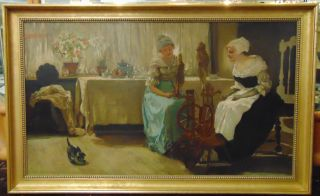 """Old World Oil Painting Vintage Old World Oil Painting. Indoor Scene. Unsigned. Frame measures 33-1/2"""" tall x 53-1/2"""" wide. Condition is very good. Excellent. No damage. Starting Bid $50. Auction Estimate $50 - $400."""