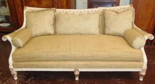 """Vintage French Provincial Sofa Vintage French Provincial Upholstered Sofa. Measures 39-1/2"""" tall x 89"""" wide x 38"""" deep. Condition is very good. Excellent. No damage. Several Shipping Options Available. Starting Bid $150. Auction Estimate $400 - $700."""