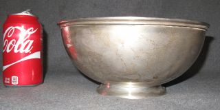 """Sterling Silver Bowl 20 oz. Sterling Silver Bowl. Weight is aprox 20 oz. Measures 4-1/4"""" tall x 9-1/4"""" wide. Condition is good. No damage. Bottom is properly marked. Several Shipping Options Available. Starting Bid $250. Auction Estimate $350 - $400."""