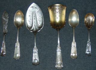 Set of 6 Sterling Silver Serving Pieces 10 oz. Set of 6 Sterling Silver Serving Pieces. Aprox 10 oz. Beautifully etched and some Gold Wash finish. Overall condition is good to fair. Wear consistent with age and use. Some losses to Gold Wash. Several Shipping Options Available. Starting Bid $100. Auction Estimate $150 - $200.