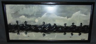 """Original Florida Highwayman Painting by Michael Sears Original, modern-day Florida Highwayman painting by contemporary artist, Micheal Sears. Large Oil on Masonite. Nicely framed. Artist Signed. Measures 18"""" tall x 28"""" wide. Condition is very good. No Damage. Michael Sears (1962- present) is 2nd generation trained by George Buckner Jr. Original member, and personally influenced by the several other members of this art movement with whom he interacted. He remains true to Highwaymen subject, style, materials and outdoor selling methods. Several Shipping Options Available. Starting Bid $50. Auction Estimate $70 - $120."""