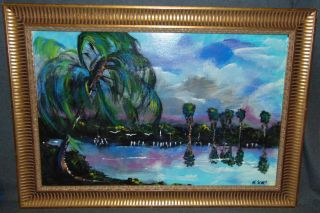 """Original Florida Highwayman Painting by Michael Sears Original, modern-day Florida Highwayman painting by contemporary artist, Micheal Sears. Large Oil on Masonite. Nicely framed. Artist Signed. Measures 31"""" tall x 44"""" wide. Condition is very good. No Damage. Michael Sears (1962- present) is 2nd generation trained by George Buckner Jr. Original member, and personally influenced by the several other members of this art movement with whom he interacted. He remains true to Highwaymen subject, style, materials and outdoor selling methods. Several Shipping Options Available. Starting Bid $100. Auction Estimate $120 - $200."""