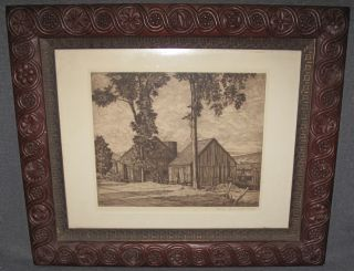 """Luigi Lucioni (1900-1988) Etching Lovely Etching of an old Barn by Luigi Lucioni (Italian/American,1900-1988). Pencil Signed and dated 1952. Framed and Matted. Frame measures 17-3/4"""" tall x 21-1/4"""" wide. Condition is very good. No damage. Starting Bid $50. Auction Estimate $50 - $200."""