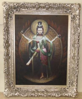 """Oil Painting of Goddess Lakshmi Large and Beautiful Oil Painting of Hindu Goddess Lakshmi on Canvas. Lakshmi is the goddess of wealth, fortune, power, luxury, beauty, fertility, and auspiciousness. Ornate Frame measures 63"""" tall x 51"""" wide. Condition is very good. Excellent. No damage. Unsigned. Several Shipping Options Available. Starting Bid $150. Auction Estimate $300 - $400."""