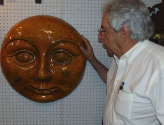 """Large Ceramic Moon Face Sculpture Large Ceramic Moon Face Wall Sculpture. Measures 26-1/2"""" tall x 24"""" wide x 8"""" deep. Unsigned. Weight is aprox 25 lbs. Condition is very good. Excellent. No damage. Several Shipping Options Available. Starting Bid $150. Auction Estimate $200 - $300."""