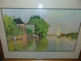 """Houses on the Achterzaan"" by Claude Monet Beautiful framed and matted print titled ""Houses on the Achterzaan"" by Claude Monet (French 1840-1926). Frame measures 31-1/2"" tall x 43"" wide. Matted under glass. Condition is very good. Excellent. No damage. Several Shipping Options Available. Starting Bid $50. Auction Estimate $60 - $80."