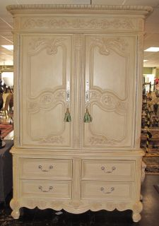 """Large French Style TV Armoire Large French Style TV Armoire. Measures 98-1/2"""" tall x 62"""" wide x 25"""" deep. Condition is very good. Excellent. No damage. Several Shipping Options Available. Starting Bid $150. Auction Estimate $200 - $300."""