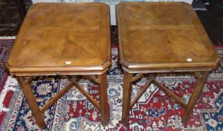"""Pair (2) of Mid Century End Tables Pair (2) of Mid Century End Tables with pull out shelves. Each Measures 22"""" wide x 26"""" deep x 26-1/2"""" tall. Condition is good with typical surface scratches from age. No damage. Starting bid $30 for both. Auction Estimate $30 - $70."""