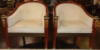 "Pair (2) of Deco Arm Chairs Pair (2) of Deco style Arm Chairs. Each measures 35-1/2"" tall x 31-1/2"" wide x 30"" deep. Overall condition is good to fair. Wear consistent with age and use. Some staining. Several Shipping Options Available. Starting Bid $250 for pair. Auction Estimate $400 - $500."