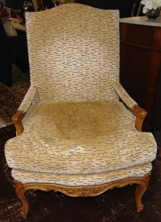 """Upholstered Arm Chair Upholstered Arm Chair. Measures 41"""" tall x 29"""" wide x 25"""" deep. Condition is very good. Excellent. No damage. Several Shipping Options Available. Starting Bid $200. Auction Estimate $300 - $350."""