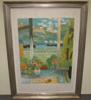 "Jacques Petit Lithograph ""Aqua Terrace with Sailboats"" Jacques Petit Lithograph ""Aqua Terrace with Sailboats"". Artist signed and numbered I/XII. Nicely Framed. Frame measures 36"" tall x 27"" wide. Condition is good. No damage. Several Shipping Options Available. Starting Bid $200. Auction Estimate $300 - $500."
