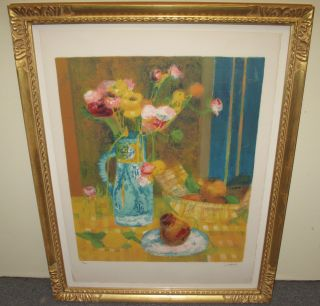 "F. Culloul's Lithograph ""Aqua Vase with Flowers"" F. Culloul's Lithograph ""Aqua Vase with Flowers"". Artist signed and numbered 124 of 125. Nicely Framed. Frame measures 36-1/2"" tall x 28-1/2"" wide. Condition is good. No damage. Several Shipping Options Available. Starting Bid $200. Auction Estimate $300 - $500."